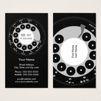 Retro Phone Black & White Business/Profile Card