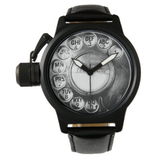 Retro phone dial watch