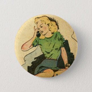 Retro Phone Girl III 2 Inch Round Button