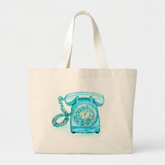 Retro Phone Turquoise Rotary Vintage Blue Large Tote Bag