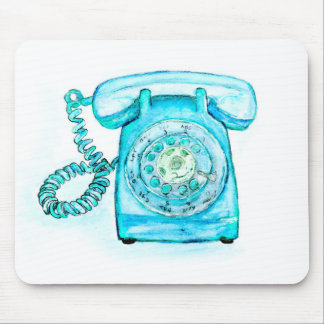 Retro Phone Turquoise Rotary Vintage Blue Mouse Pad