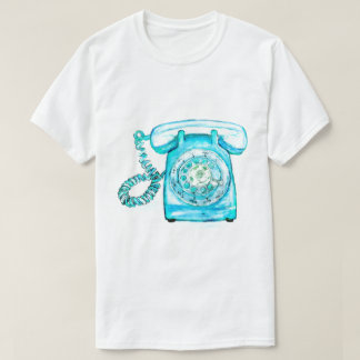 Retro Phone Turquoise Rotary Vintage Blue T-Shirt