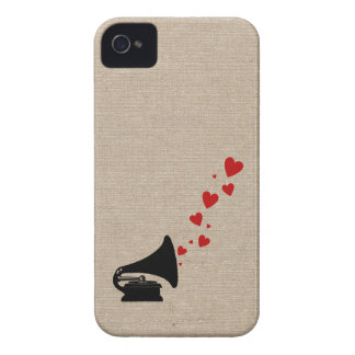 Retro phonograph stereo music lover hipster hearts Case-Mate iPhone 4 case