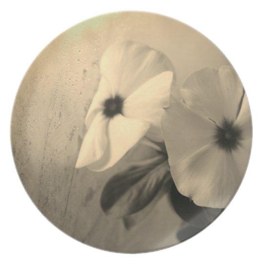 Retro Photo Flowers Melamine Plate