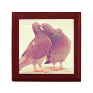 Retro Pigeon Love Birds Kissing Couple Photo Gift Boxes