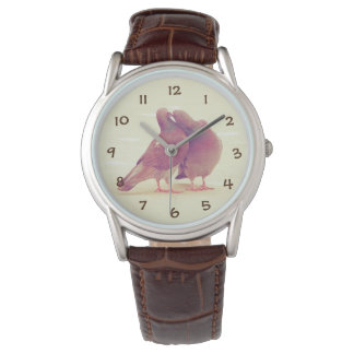 Retro Pigeon Love Birds Kissing Couple Photo Watch