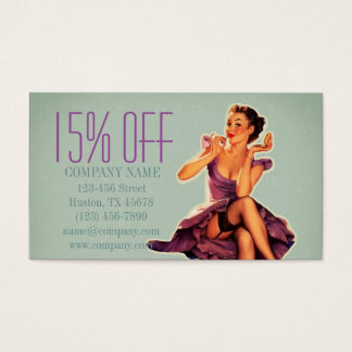retro pin up Girl Hair Makeup Artist Cosmetologist Business Card