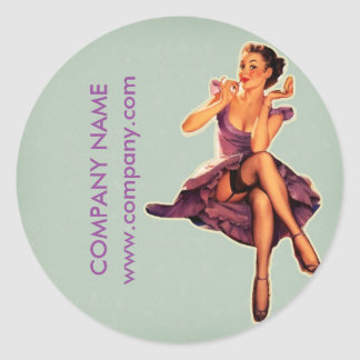 retro pin up Girl Hair Makeup Artist Cosmetologist Classic Round Sticker