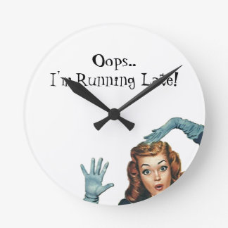 Retro Pin-up Running Late Oops Gift Clock Vintage