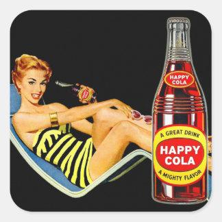 Rétro Pin vintage de kitsch vers le haut de soude Sticker Carré