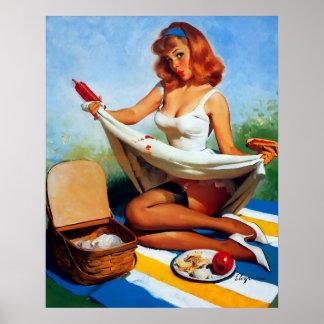 Rétro Pin vintage de pique-nique de Gil Elvgren ve Posters