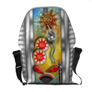 Retro Pinball Machine Illustration Messenger Bags