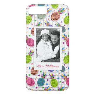 Retro Pineapple Pattern   Add Your Photo & Name iPhone 7 Plus Case