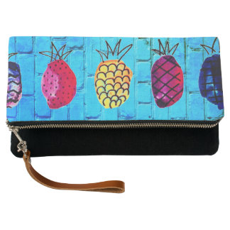 retro pineapples and brick hand clutch