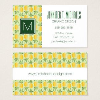 Retro Pineapples | Monogram Business Card