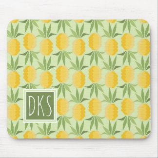 Retro Pineapples | Monogram Mouse Pad
