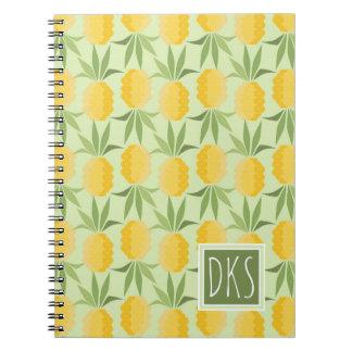 Retro Pineapples | Monogram Spiral Note Book