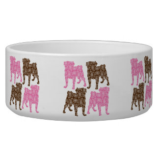 Retro Pink and Brown Paisley Pugs