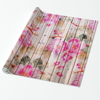 Retro Pink Antique Floral Pattern Vintage Wood Wrapping Paper