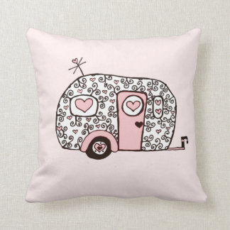 Retro pink Black and White Glamper Throw Pillow