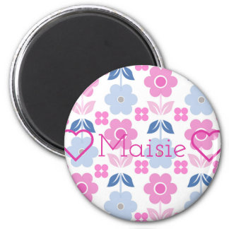 Retro Pink/blue Flowers Customisable Round Magnet