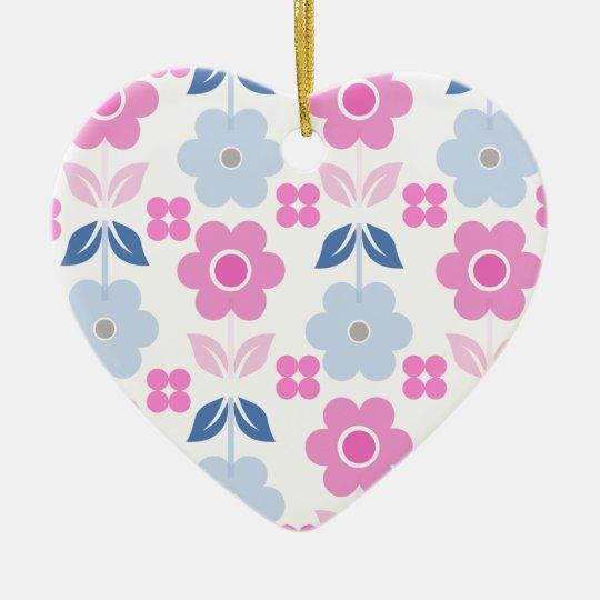 Retro Pink/Blue Flowers Dble-sided Heart Ornanent Ceramic Ornament