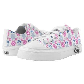 Retro Pink/Blue Flowers Low-Top Sneakers