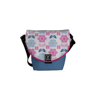 Retro Pink/Blue Flowers Messenger Bags