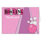 Retro Pink Bowling Party Folded Thank you notes