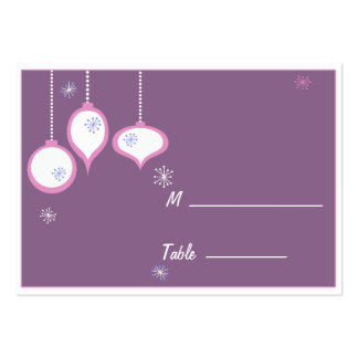 Retro Pink Christmas Placecards Large Business Card