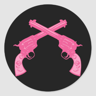 Retro Pink Crossed Pistols Classic Round Sticker