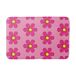 Retro Pink Daisy Cute Summer Bathroom Rug Bath Mat