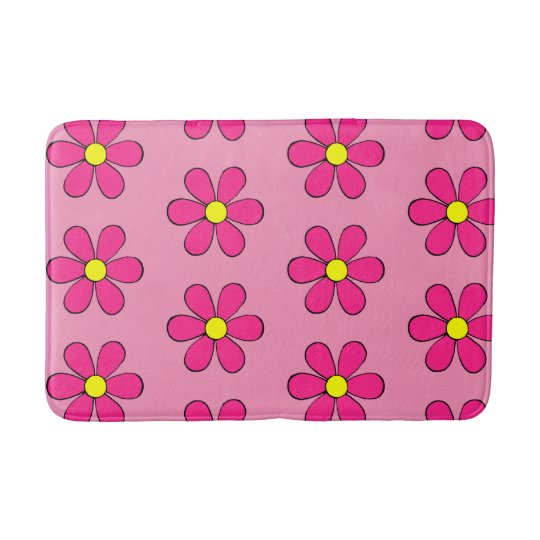 Retro Pink Daisy Cute Summer Bathroom Rug Bath Mat