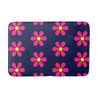 Retro Pink Daisy Summer Bathroom Rug Bath Mat