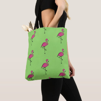 Retro Pink Flamingo Beach Tote Bag Gift