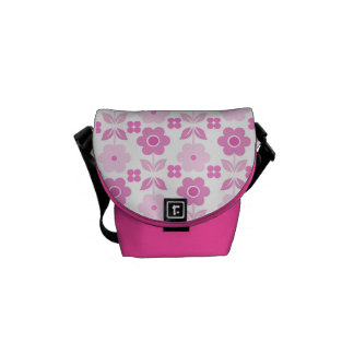 Retro Pink Flowers Courier Bag