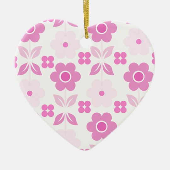 Retro Pink Flowers Dble-sided Heart Ornanent Ceramic Ornament