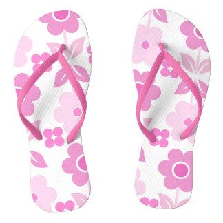 Retro Pink Flowers Flip Flops