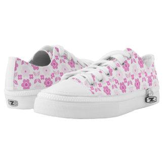 Retro Pink Flowers Low-Top Sneakers