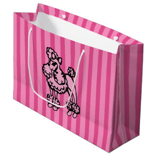 Retro Pink French Poodle Stripe Party Gift Bag