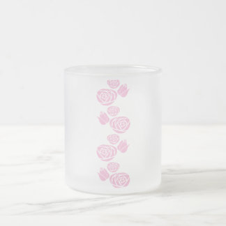 Retro pink frosted glass coffee mug