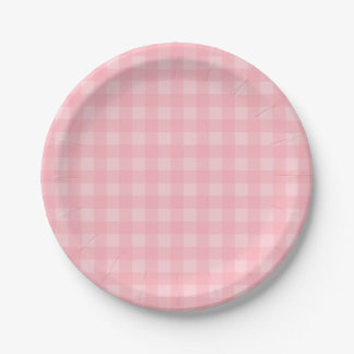 Retro Pink Gingham Checkered Pattern Background 7 Inch Paper Plate