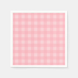Retro Pink Gingham Checkered Pattern Background Disposable Napkin