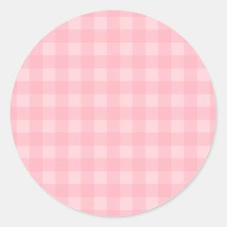 Retro Pink Gingham Checkered Pattern Background Round Sticker