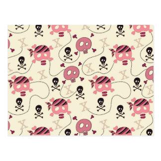 Retro Pink Girly Skull and Bones Postcards