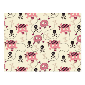 Retro Pink Girly Skull and Bones Postcards