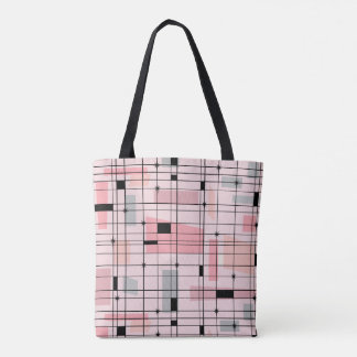 Retro Pink Grid and Starbursts Tote Bag