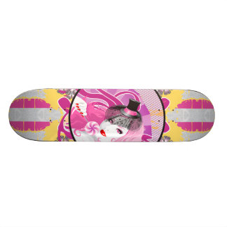 Retro Pink Haired Girl With Lollipop & Flowers Custom Skate Board