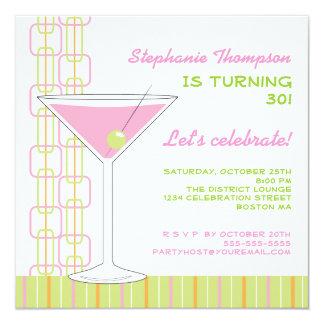 Retro Pink Martini Birthday Party Invitation