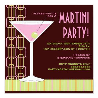 Retro Pink Martini Cocktail Party Invitation